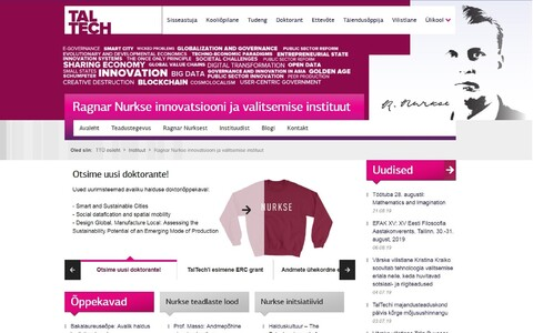 Homepage of Taltech's Ragnar Nurkse Department of Innovation and Governance.