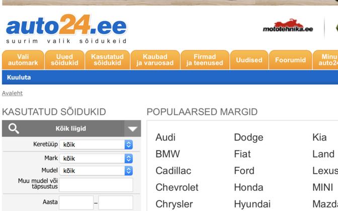 Auto24 kuulutusteportaal.