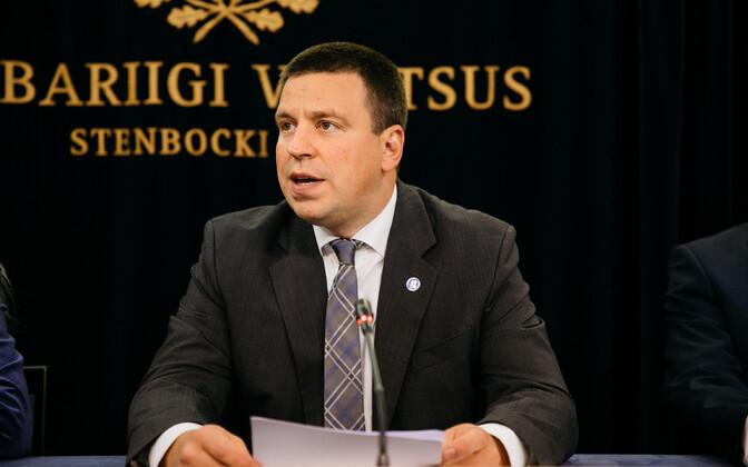 Peaminister Jüri Ratas valitsuse pressikonverentsil.