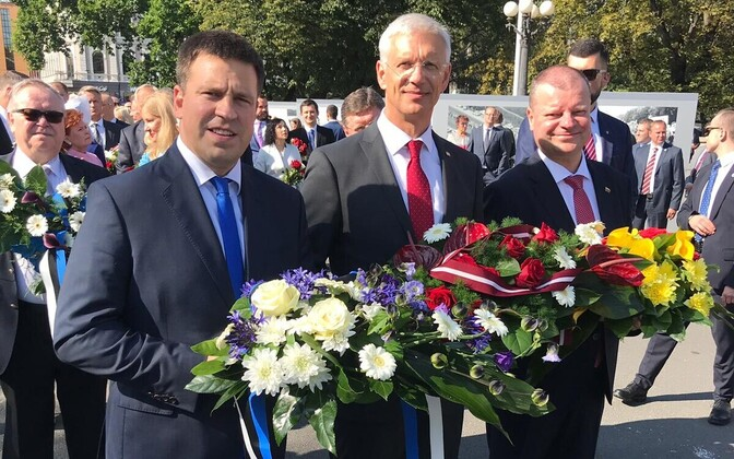 The prime ministers of Estonia, Latvia and Lithuania in Riga on the 30th anniversary of the Baltic Way. Aug. 23, 2019.