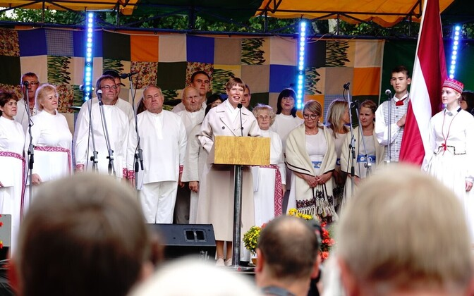 President Kersti Kaljulaid giving a speech at Baltic Way celebrations at the border crossing point in Lilli, Estonia on Friday evening. Aug. 23, 2019.