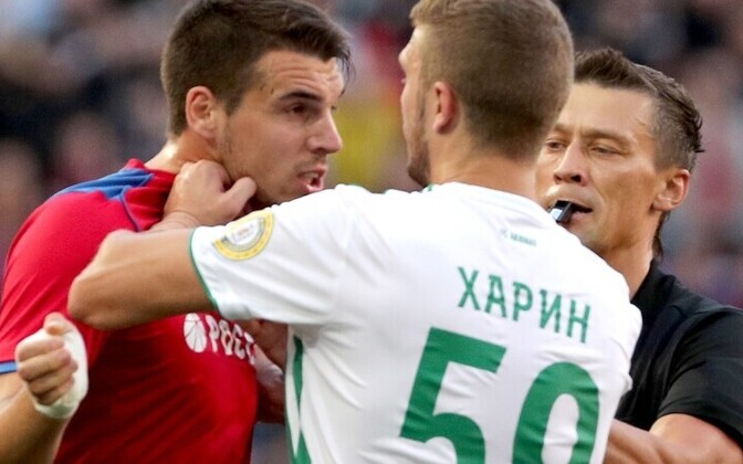 Воспитанник маардуского футбола Евгений Харин в матче с ЦСКА получил желтую карточку.
