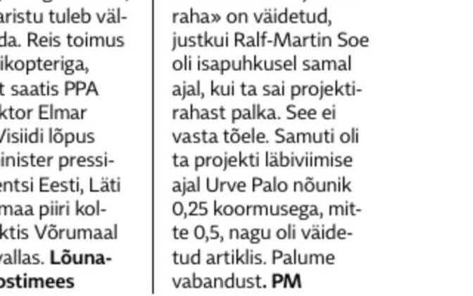A screenshot shared by Ralf-Martin Soe on Facebook of the correction published by Postimees. Aug. 24, 2019.