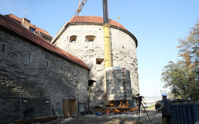 Renovation work underway at Fat Margaret Tower in Tallinn.
