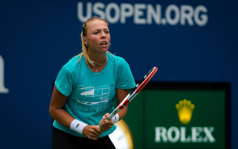 Anett Kontaveit in practice at the U.S. Open in August.