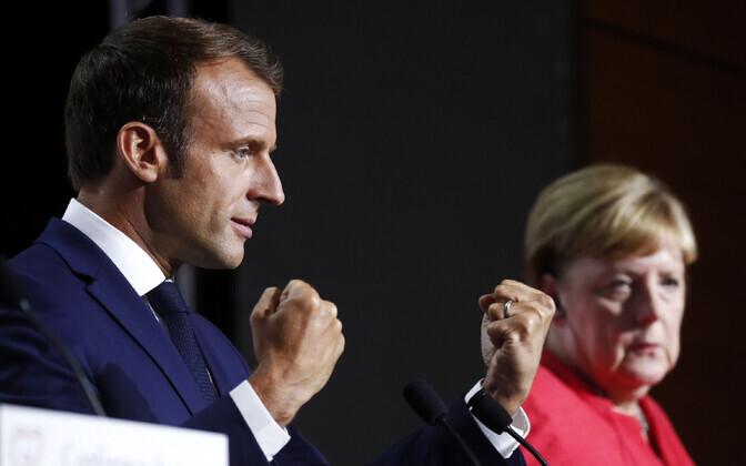Macron ja Merkel G7 tippkohtumisel.