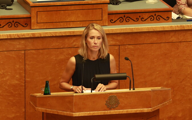 Reform Party leader Kaja Kallas at the Riigikogu.