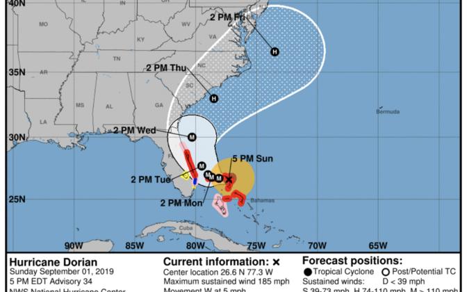 USA riikliku orkaanikeskuse hoiatuskaart.