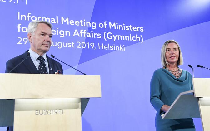 Soome välisminister Pekka Haavisto ja EL-i välispoliitikajuht Federica Mogherini.
