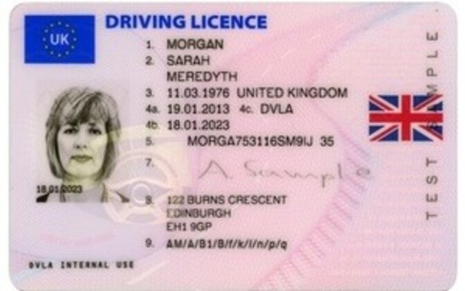 UK driver's license (picture is illustrative).
