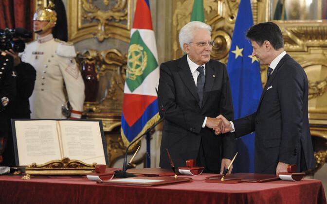 President Mattarella ja peaminister Conte uue valitsuse ametivande ajal.