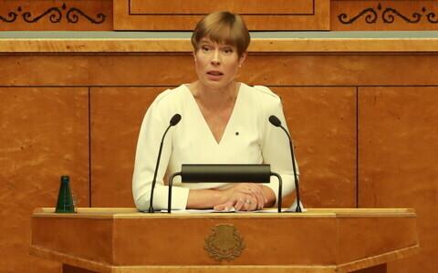 President Kersti Kaljulaid riigikogu sügisistungjärgu avaistungil.