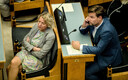 Reform MPs Vilja Toomast and Kalle Palling in the Session Hall of the Riigikogu.