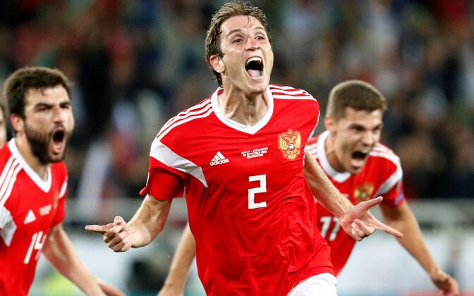 Победный гол сборной России забил защитник ЦСКА Марио Фернандес.