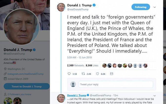 Üks kuulsatest Trumpi säutsudest Twitteris, kus ta kirjutas Walesi printsi asemel Vaalade prints ( Prince of Whales).