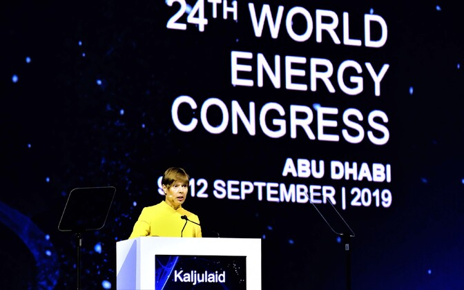 President Kersti Kaljulaid delivering the keynote speech at the 24th World Energy Congress in Abu Dhabi. Sept. 10, 2019.