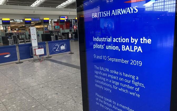 British Airwaysi streigi teavitus lennujaamas.