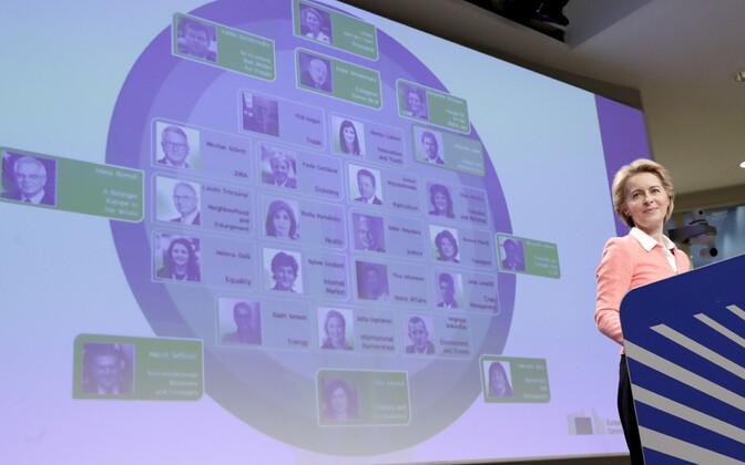 Von der Leyen oma Komisjoni koosseisu tutvustamas.