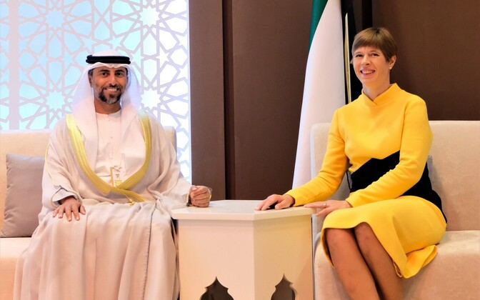 President Kersti Kaljulaid with UAE minister for energy and industry,  Mohamed Al Maz.