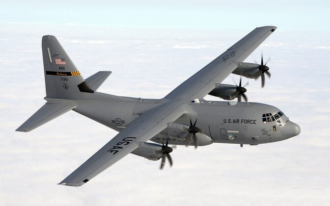 U.S. Air Force Lockheed Martin C-130J Hercules aircraft from the 135th Airlift Squadron, 175th Wing, Maryland Air National Guard, similar to the plane on exercise over Estonia at the weekend.