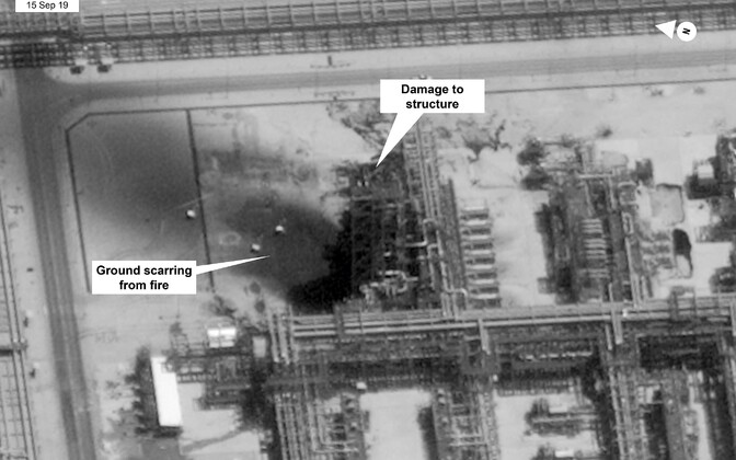 Droonirünnakus kahjustatud Saudi Aramco Kuiraisi õliväli Saudi Araabias.