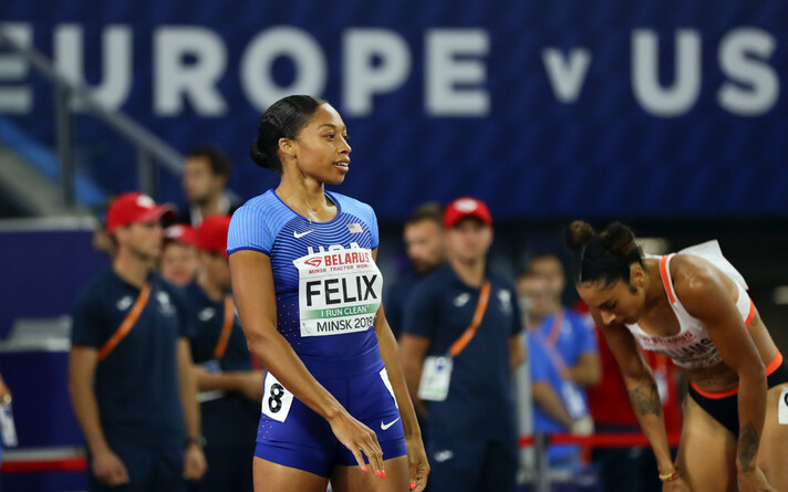 Allyson Felix Euroopa - USA kergejõustikumatšil.