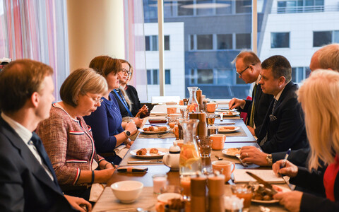 British Secretary of State for Digital, Culture, Media and Sport Nicky Morgan with Minister of Foreign Affairs Urmas Reinsalu (Isamaa) in Tallinn on Tuesday. Sept. 17, 2019.