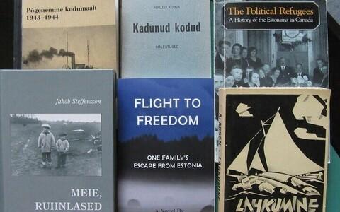 """Vaade näitusele """"75 aastat suurest põgenemisest. Ajakirjandus, raamatud, fotod""""."""