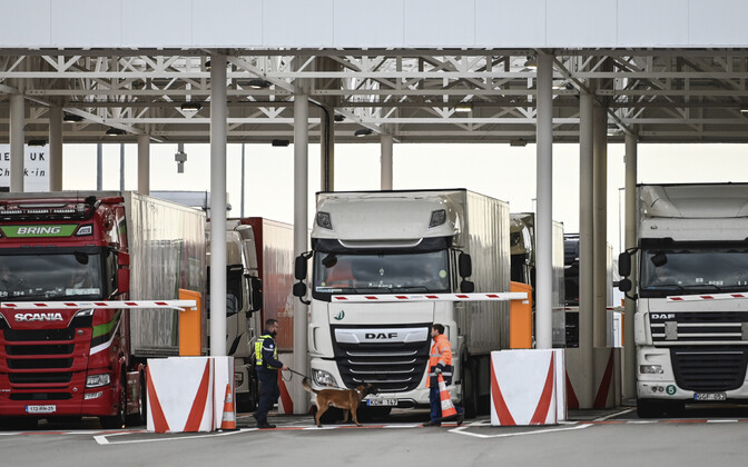 Inspection of tractor trailers in Calais, at the entrance of the Channel Tunnel connecting the European mainland to the U.K.