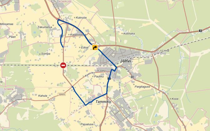 Переезд в Сомпа будет закрыт, объезд – через Йыхви.