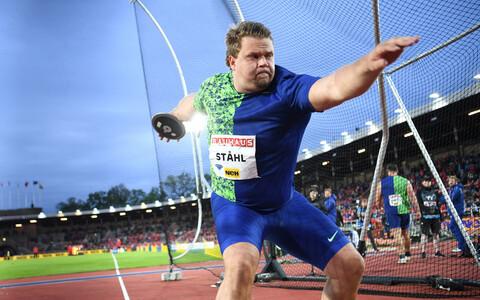Rootsi kettaheitja Daniel Stahl Stockholmi Teemantliiga etapil võistlemas.