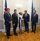 Prime Minister Jüri Ratas (Centre) and foreign minister Urmas Reinsalu (Isamaa) greet representatives of the Baltic States' communities in North America, at Estonian House in New York.