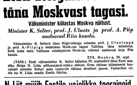 Ajalehe Uus Eesti teade Eesti delegatsiooni Moskvast koju jõudmise kohta.