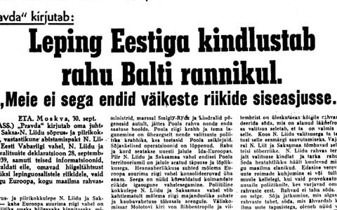 Ajaleht Uus Eesti refereerib esiküljel Pravda juhtkirja. 1. oktoober 1939.