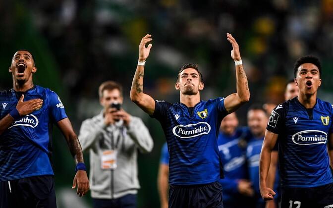 Famalicao mängijad pärast võõrsil saadud võitu Sportingu üle