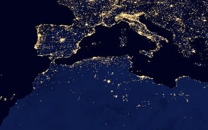 Öine Maa tehisvalgustus on selgelt nähtav ka kosmosest.