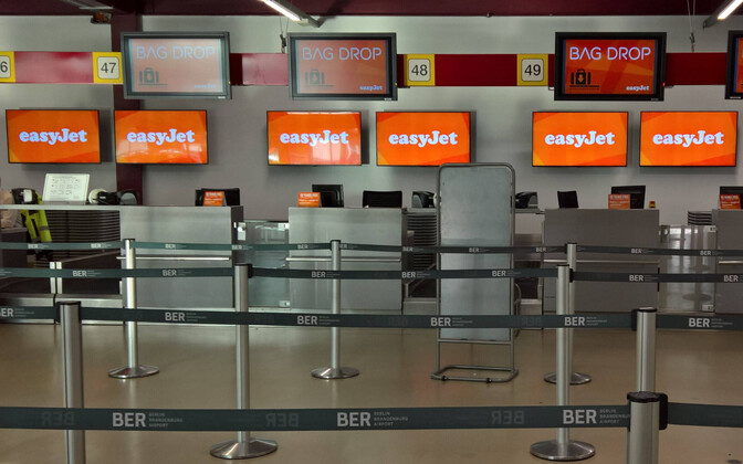Easyjet check-in and luggage counters in Berlin.