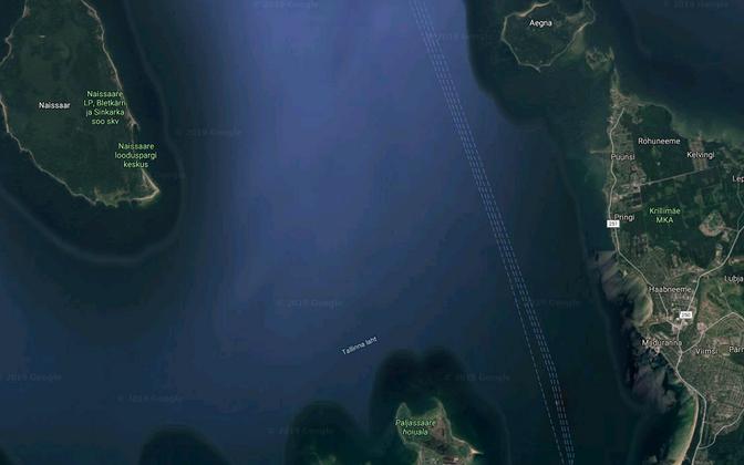 Tallinn Bay with Aegna to the northeast.