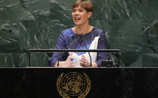 Выступая на Генеральной Ассамблее ООН, Керсти Кальюлайд, надела платье с изображением Антарктиды.