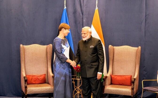 President Kersti Kaljulaid meeting Indian prime minister, Narendra Modi, at the UN Wednesday.