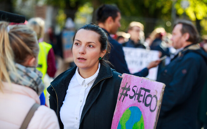 Green Party chair Züleyxa Izmailova at a climate change protest on Toompea last September.