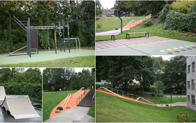 Scenes from two renovated playground and sports areas in Tartu, also open to the public.