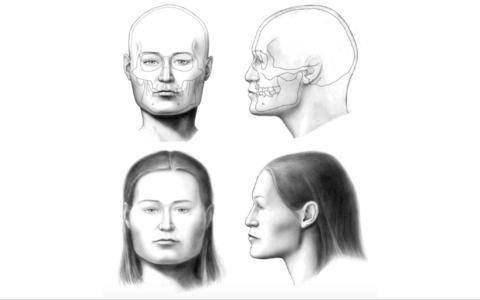 Kirde-Eestist Sope nöörkeraamika matmispaigalt u 4500 aastat tagasi elanud naise kolju alusel Venemaa Teaduste Akadeemia Etnograafia ja Antropoloogia Instituudis Moskvas tehtud näorekonstruktsioon.