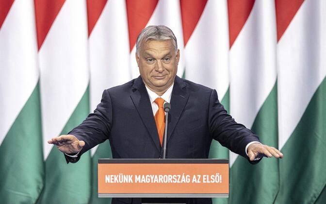 Ungari peaminister Viktor Orban oma erakonna Fidesz kongressil.