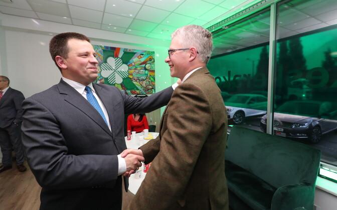 Jüri Ratas and Janek Mäggi at Centre Party headquarters in Tallinn on election night.