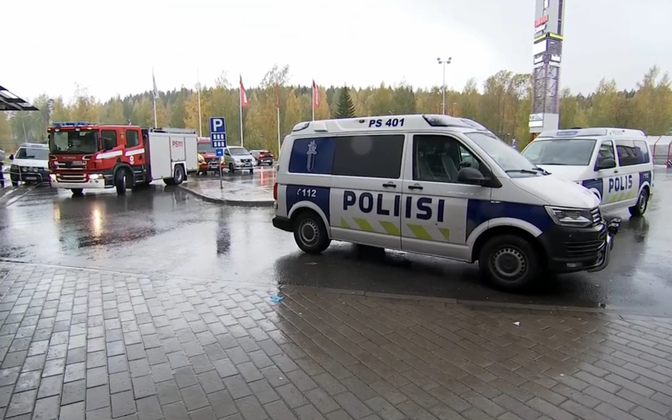 Finnish emergency services attending the scene of the attack in Kuopio on Tuesday.