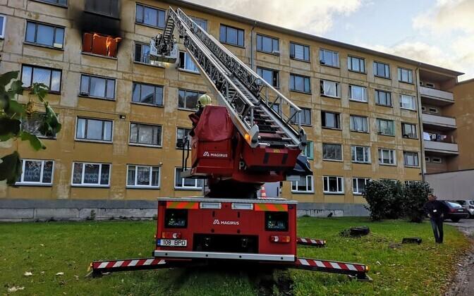 Пожар в социальном доме Кохтла-Ярве.