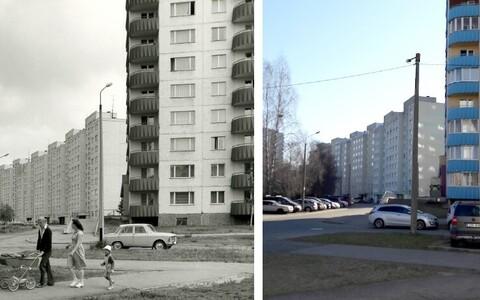 Väike-Õismäe oli üks Pille Metspalu doktoritöös uuritud piirkondi. Vasakul kaader 1970ndatest, paremal sama koht 2017. aastal.