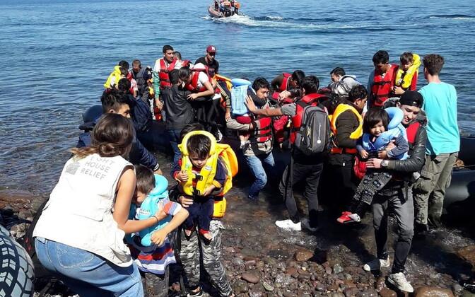 Afgaanidest migrandid oktoobri algul Kreeka rannikul.