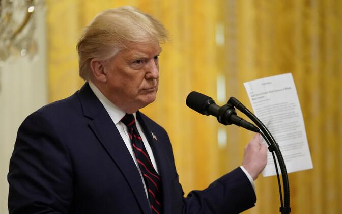 USA president Donald Trump vastamas pressikonverentsil küsimustele Ukraina teemal.